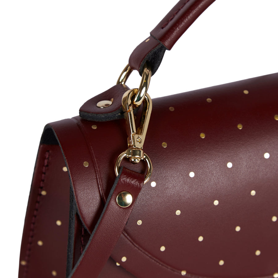 Mini Poppy Bag in Leather - Gold Dot on Oxblood