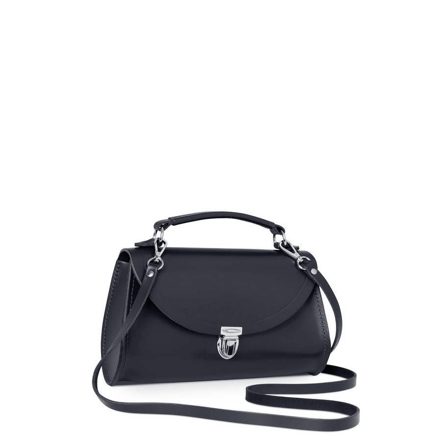Mini Poppy Bag in Leather - Navy
