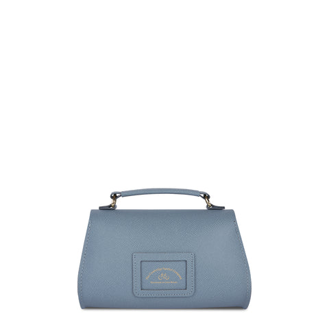 Mini Poppy Bag in Leather - French Grey Saffiano | Cambridge Satchel