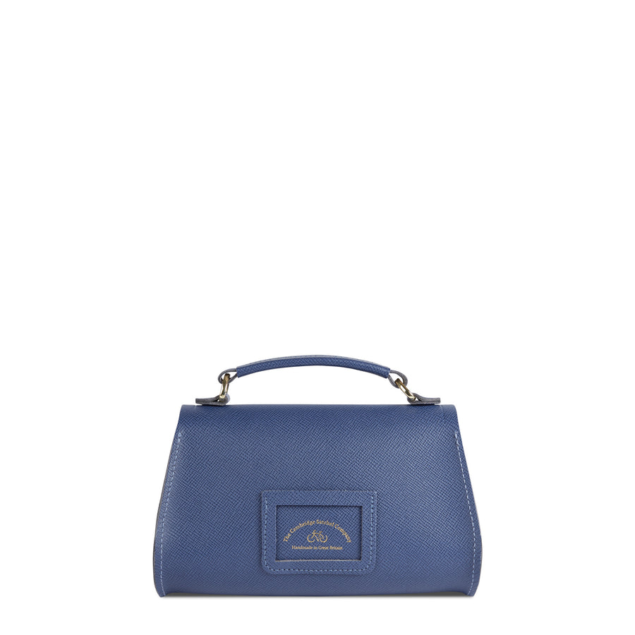 Mini Poppy Bag in Leather - Italian Blue Saffiano - Cambridge Satchel