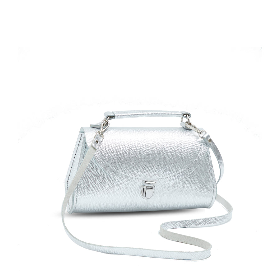 Mini Poppy Bag in Leather - Silver Foil Saffiano Metallic Full Grain