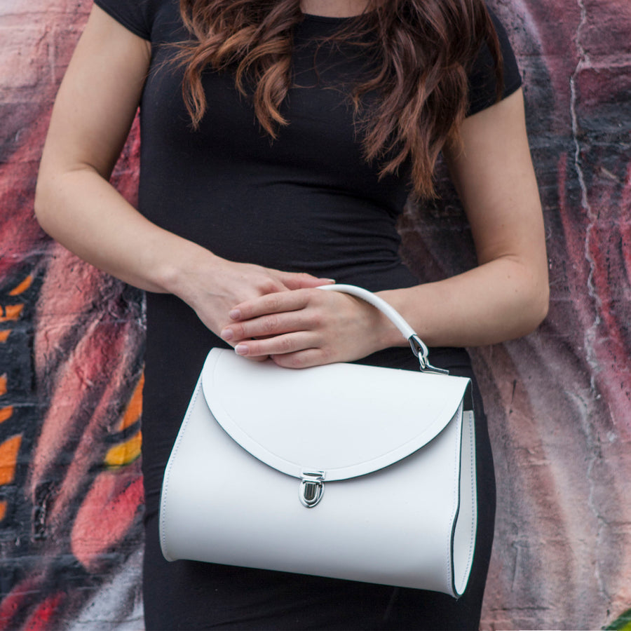 Womens - Poppy Bag in Leather - Off White - Cambridge Satchel