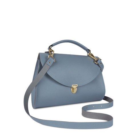 Poppy Bag in Leather - French Grey Saffiano - Cambridge Satchel