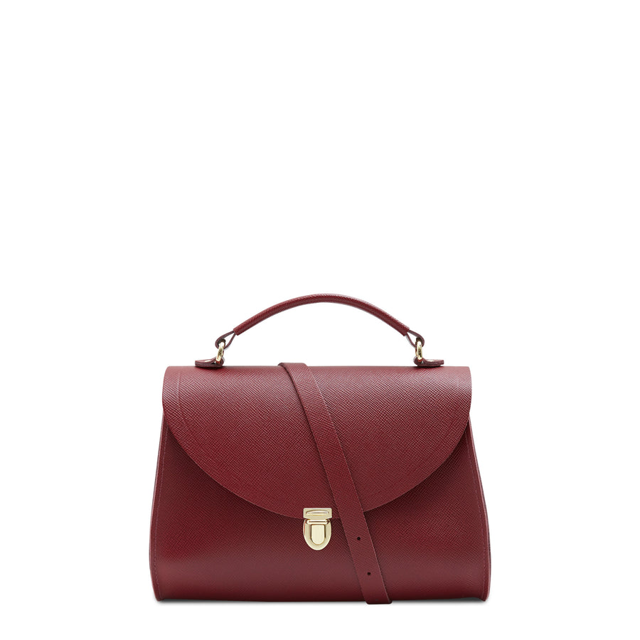 Poppy Bag in Leather - Rhubarb Red Saffiano