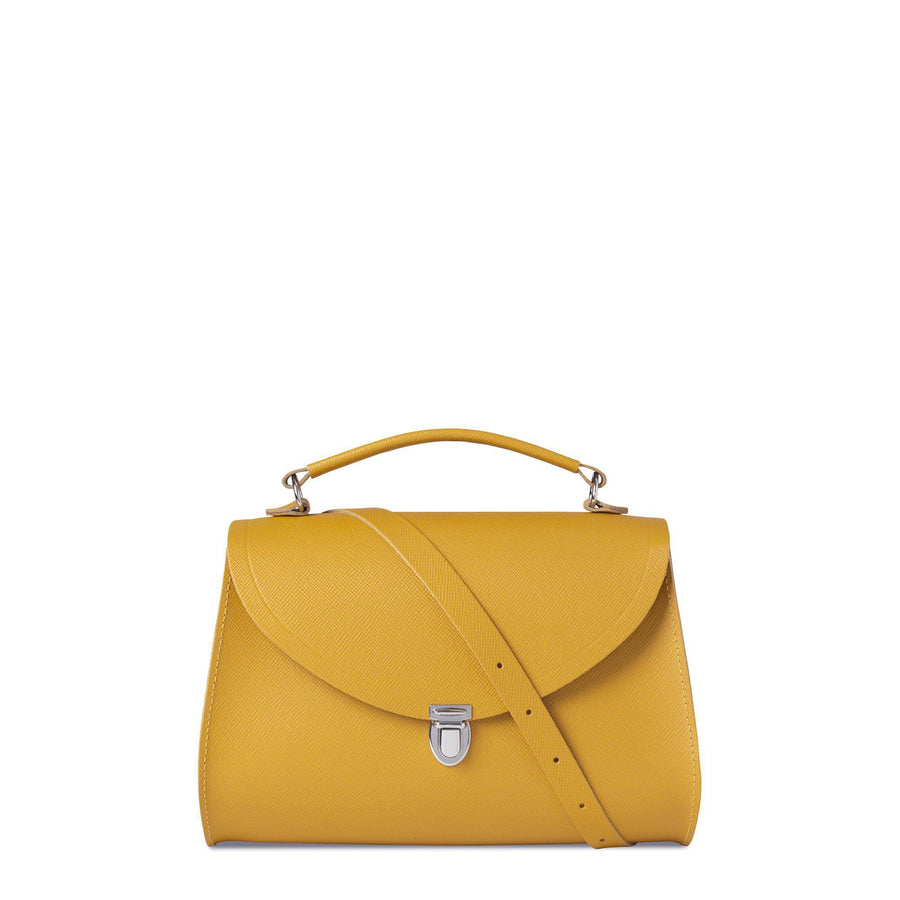 Poppy Bag in Saffiano Leather - Mustard