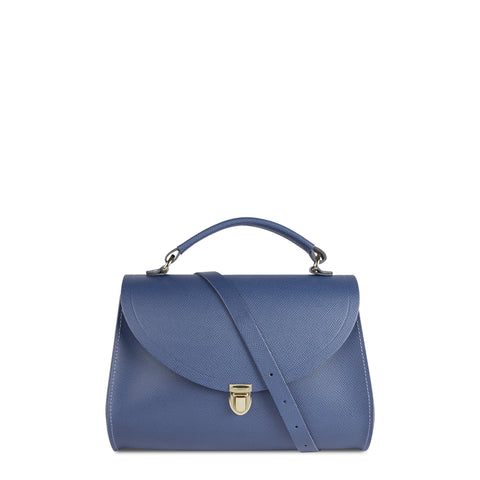 Poppy Bag in Leather - Italian Blue Saffiano