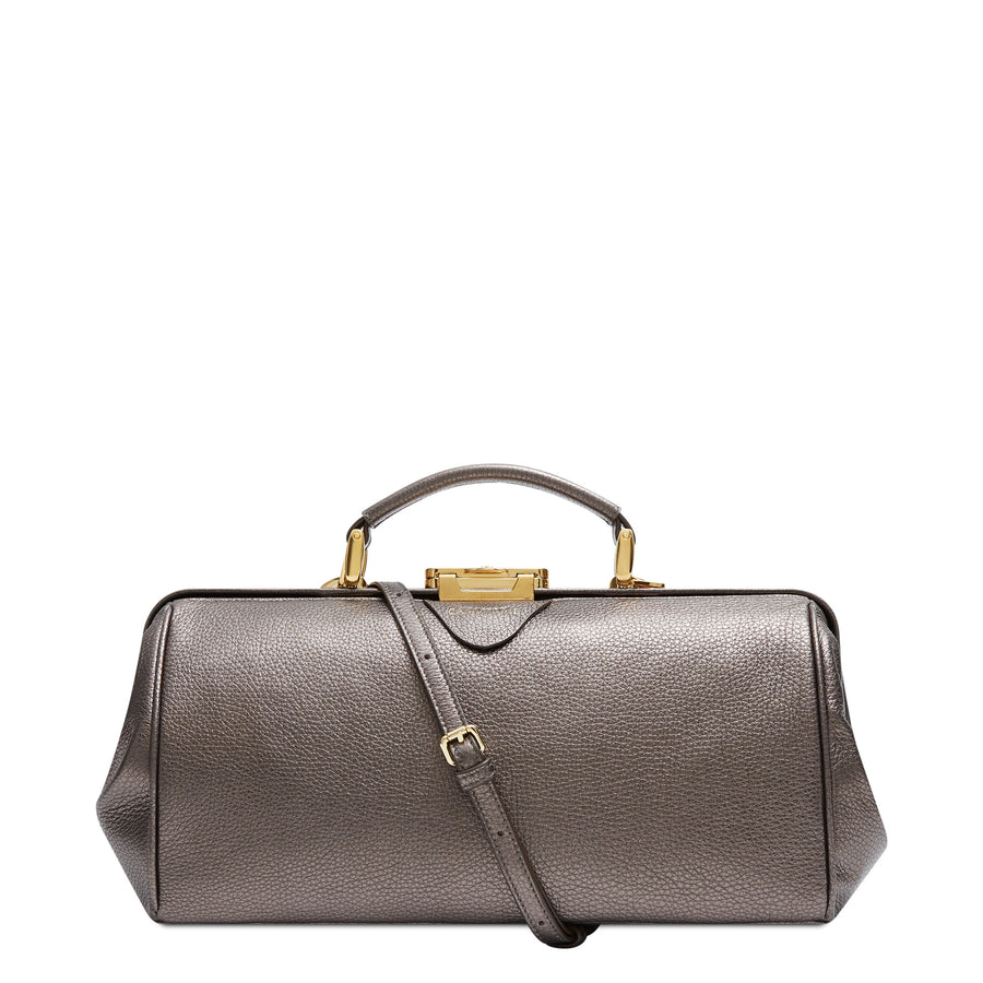 Doctors Bag - Pewter Calf Grain Leather | Cambridge Satchel Company