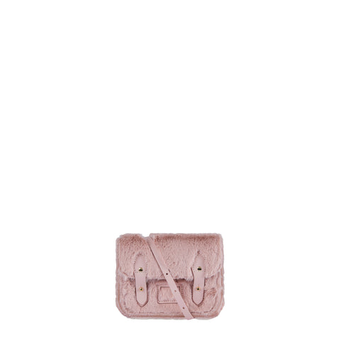 Tiny Satchel in Leather - Baby Pink Faux Fur