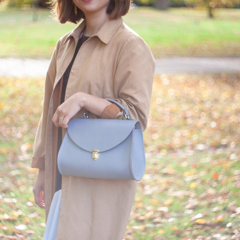 Womens - Poppy Bag in Leather - French Grey Saffiano - Cambridge Satchel