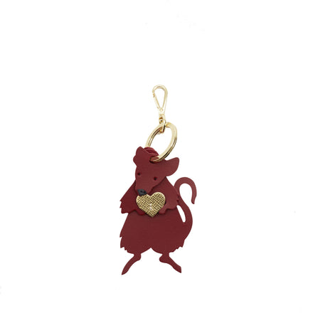 Rat Charm in Leather -  Red, Gold Saffiano & Black | Leather Keyring