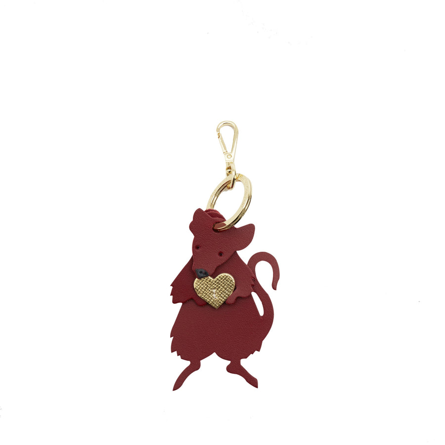Rat Charm in Leather -  Red, Gold Saffiano & Black