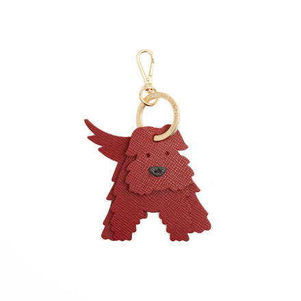 Calum the Scottie Dog Charm in Leather - Red Saffiano & Black Saffiano
