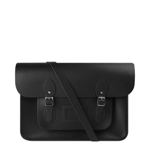 15 inch Classic Satchel with Detachable Strap in Saffiano Leather - Black