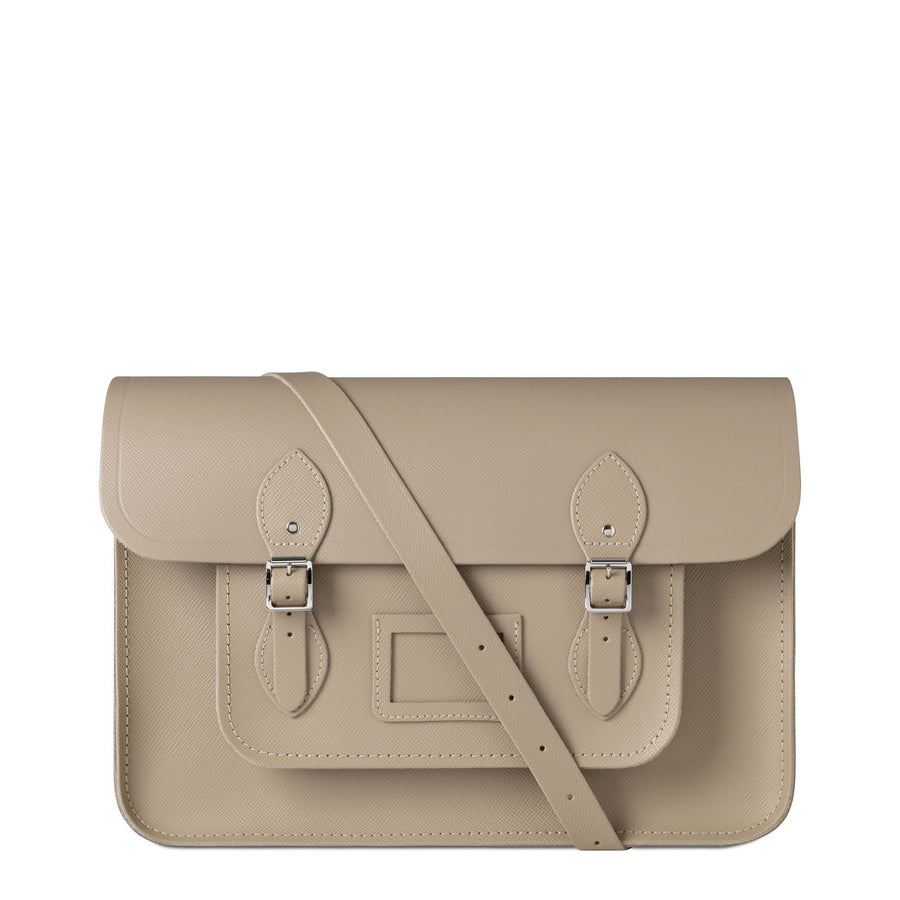 15 inch Classic Satchel with Detachable Strap in Leather - Putty Saffiano