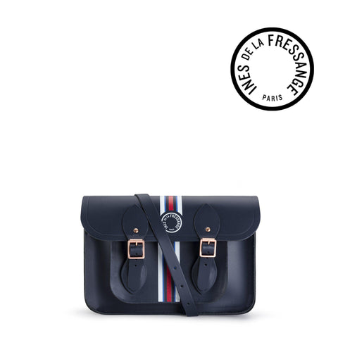 Ines De La Fressange 11 Inch Satchel in Leather - Navy & Stripe