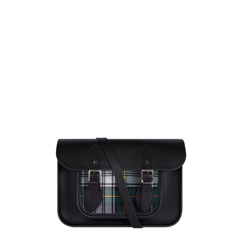 11 Inch Classic Satchel in Leather - Black & Black Watch Tartan