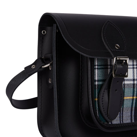 11 Inch Classic Satchel in Leather - Black & Black Watch Tartan - Cambridge Satchel