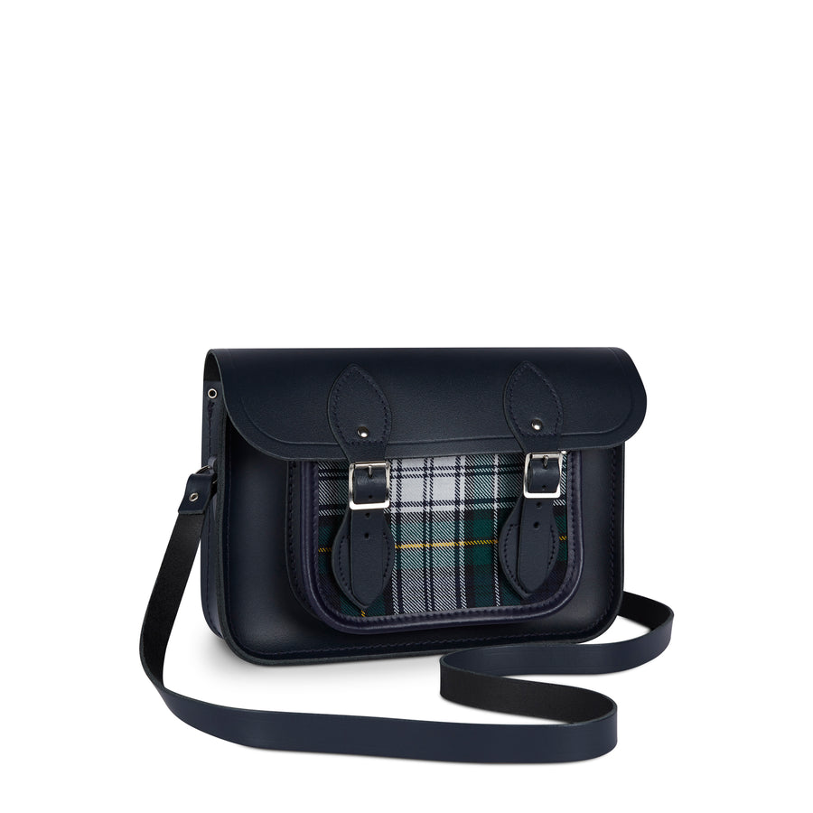 11 Inch Magnetic Satchel in Leather - Navy with Green Tartan