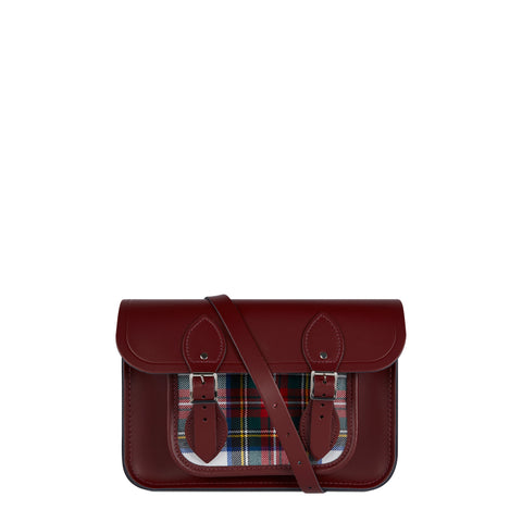 11 Inch Magnetic Satchel in Leather - Oxblood with Red Tartan