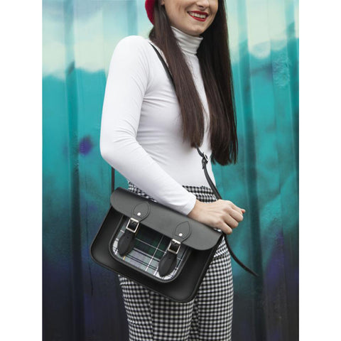 Womens - 11 Inch Classic Satchel in Leather - Black & Black Watch Tartan - Cambridge Satchel