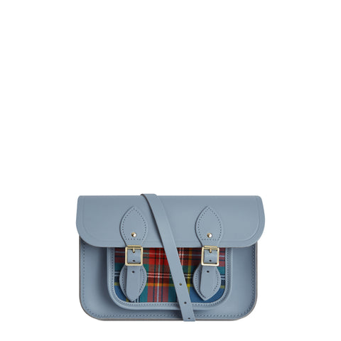 11 Inch Magnetic Satchel in Leather - French Grey with Tartan Pocket
