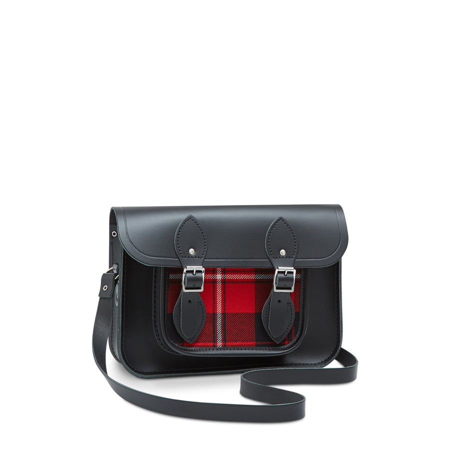 11 inch Magnetic Satchel in Leather - Black with Strome Cunningham Tartan | Cambridge Satchel