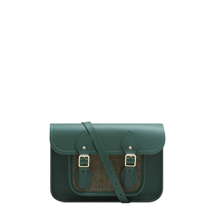 11 inch Magnetic Satchel in Leather - Racing Green with Green Tweed