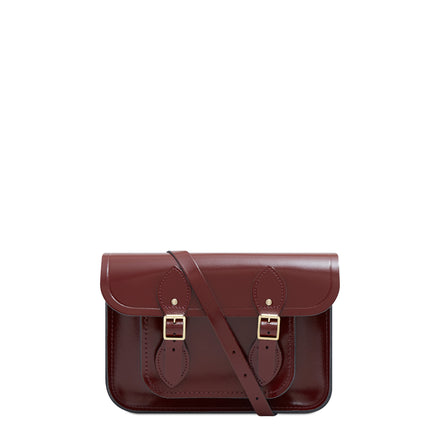 11 inch Magnetic Satchel in Leather - Patent Oxblood - Unisex Bag for Work & School