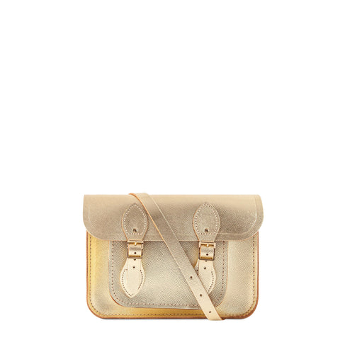 11 inch Magnetic Satchel in Leather - Gold Saffiano