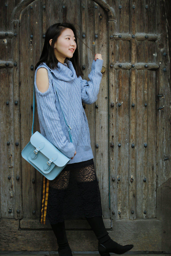 Womens- 11 inch Magnetic Satchel in Leather - Periwinkle Blue