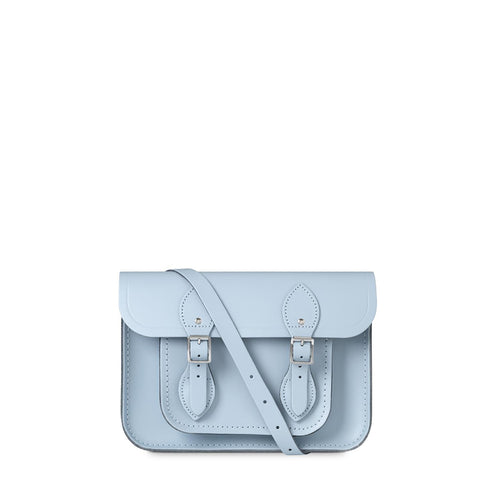 11 inch Magnetic Satchel in Leather - Periwinkle Blue