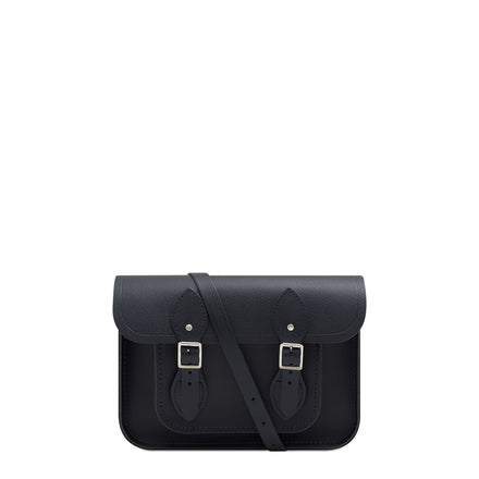 11 Inch Magnetic Satchel in Leather - Navy Saffiano