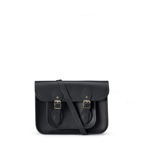 11 inch Magnetic Satchel in Leather - Black Saffiano