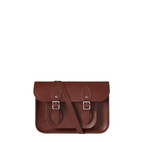 11 inch Magnetic Satchel in Leather - Brandy