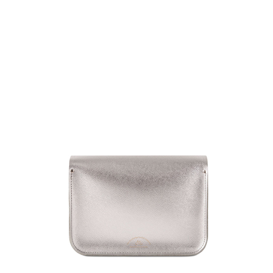 11 inch Magnetic Satchel in Leather - Silver Saffiano