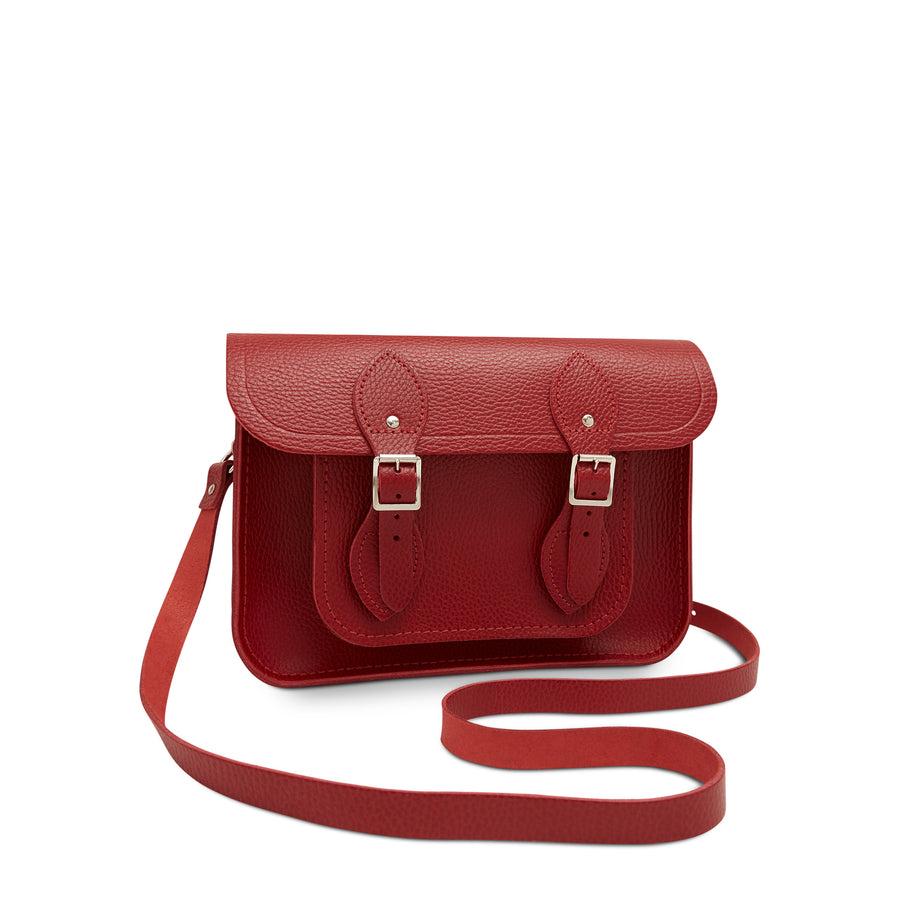 11 inch Magnetic Satchel in Leather - Red Celtic Grain