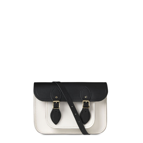 11 inch Magnetic Satchel in Leather - Black & Clay