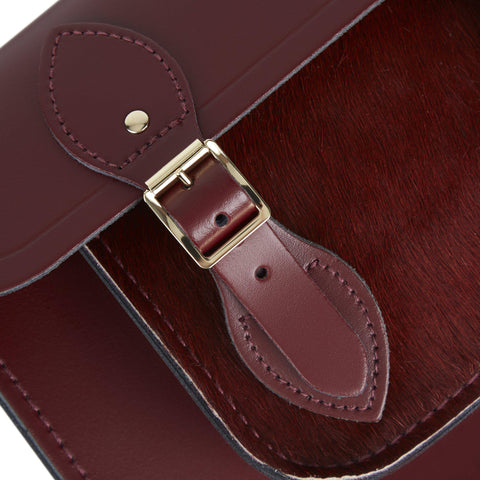 11 inch Magnetic Satchel in Leather - Oxblood & Oxblood Haircalf Pocket