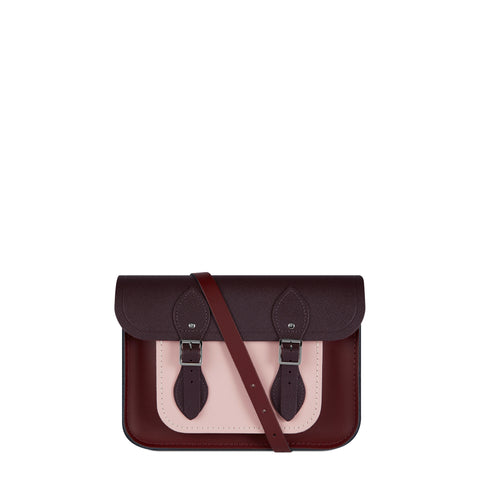 11 Inch Satchel in Leather - Oxblood, Juniper and Dusky Rose