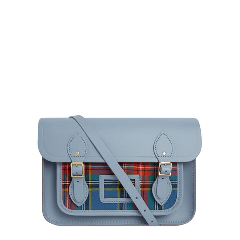 13 Inch Magnetic Satchel in Leather - French Grey with Tartan Pocket