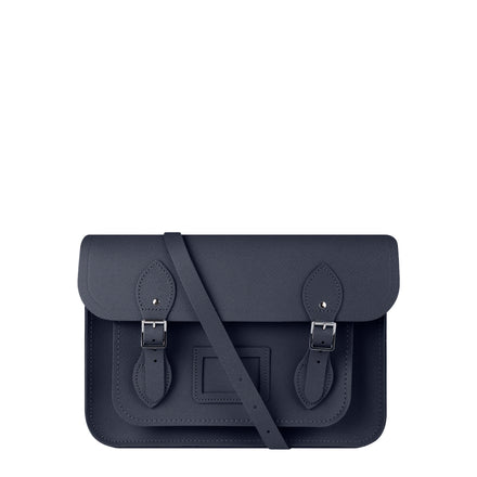 13 inch Magnetic Satchel in Leather - Navy Saffiano | Cambridge Satchel