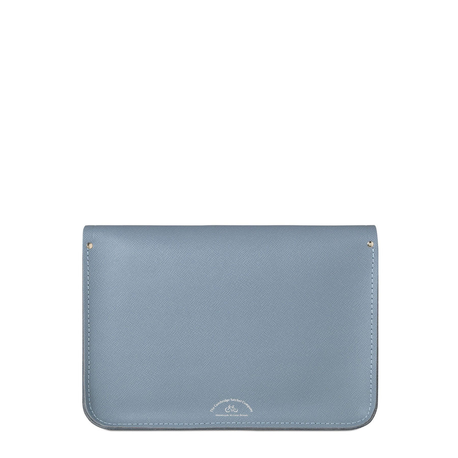 13 inch Magnetic Satchel in Leather - French Grey Saffiano