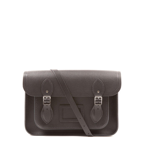 13 inch Magnetic Satchel in Leather - Black Saffiano