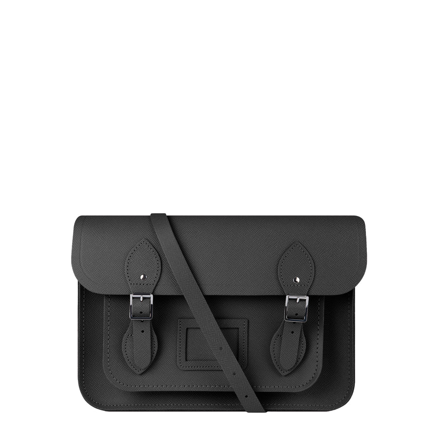 13 inch Magnetic Satchel in Leather - Black Saffiano | Cambridge Satchel