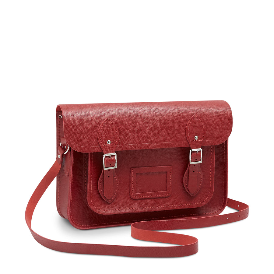13 inch Magnetic Satchel in Leather - Red Saffiano