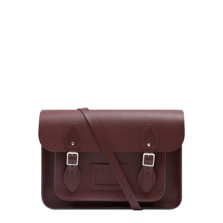 13 inch Magnetic Satchel in Leather - Oxblood Saffiano