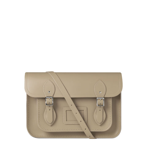 13 inch Magnetic Satchel in Leather - Putty