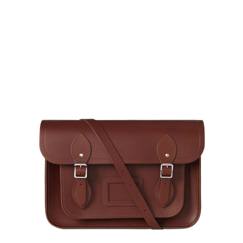 13 inch Magnetic Satchel in Leather - Brandy