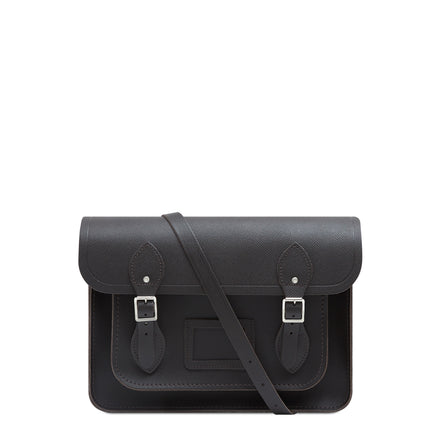 13 inch Magnetic Satchel in Leather - Dark Brown Saffiano