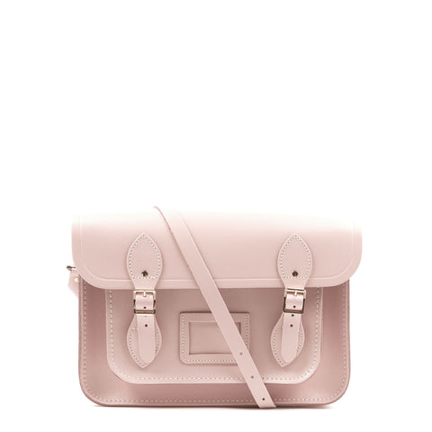 13 inch Magnetic Satchel in Leather - Peach Pink Patent Saffiano